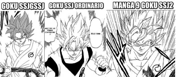 Imagen que compara las 3 fases de Goku en mangas