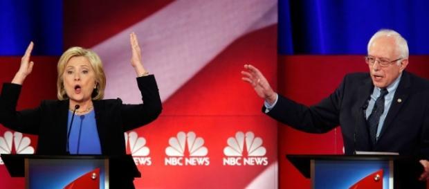 Sen. Bernie Sanders (D-VT) on the debate stage.