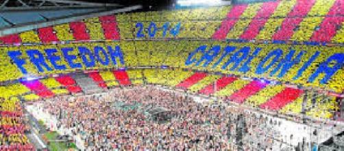 El Camp Nou en un acto a favor de la independencia