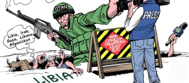 Caricatura representando la situación en Libia