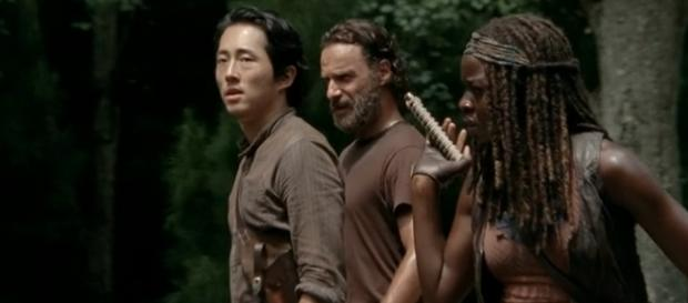 Glenn, Rick e Michonne di The Walking Dead