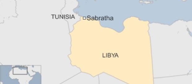 Mapa de la zona que fue bombardeada.