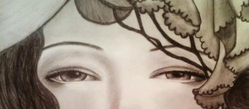 Dibujo de una chica. Por Anna Pisarchik