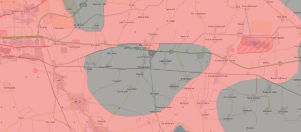 Esercito Siria= Rosso. Mappa di IUCA (via Twitter)