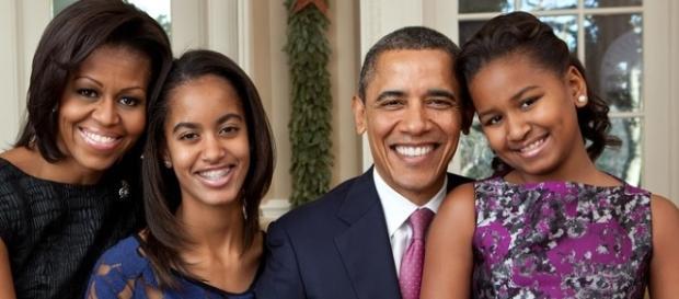 Barack Obama e sua família na casa Branca