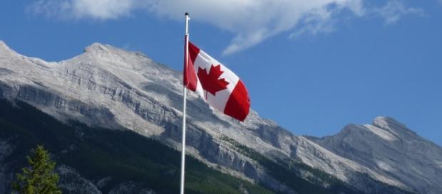 Foto: Bandeira Canadá em parque Nacional