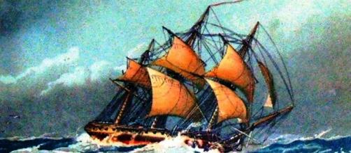 A caravela portuguesa usada para cruzar os mares.