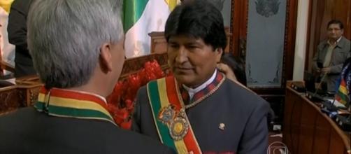Posse de Evo Morales. Foto: reprodução TV Globo