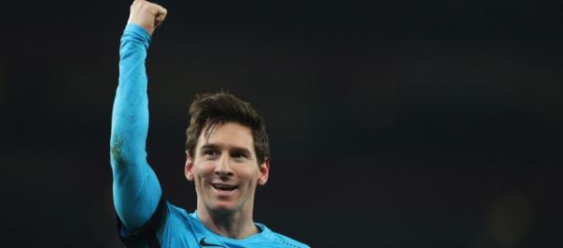 Leo Messi dándole otra victoria al Barça.