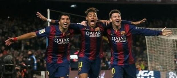 Suarez, Neymar y Messi celebrando