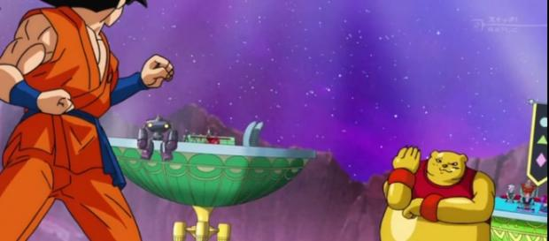 Goku y Botamo antes de iniciar el combate