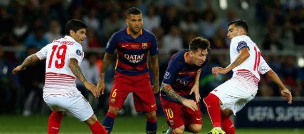 Leo Messi, en el partido de la Supercopa de Europa