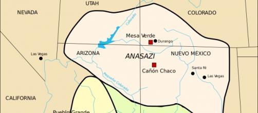 Mapa de situación de la cultura anasazi