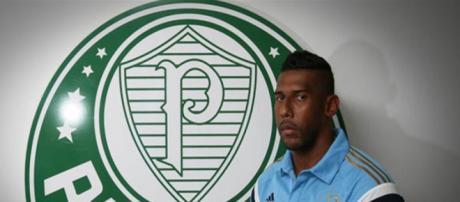 Aranha posando em apresentação no Palmeiras