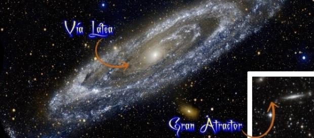 Imagen de la Vía Láctea y el Gran Atractor