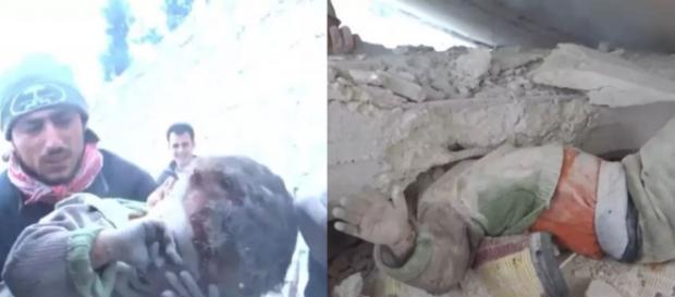 Menino foi resgatado debaixo de uma coluna