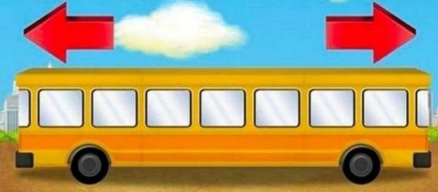 O autocarro vai para a esquerda ou para a direita?