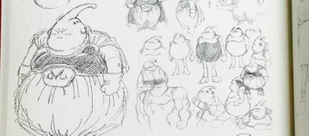 Imagen de los bocetos variados de Majin Buu
