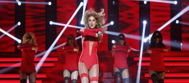 Lorena durante su actuación en la gala