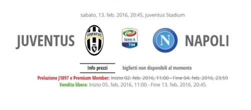 Juventus-Napoli 13 febbraio 2016, biglietti