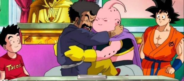 Mister Satán y Buu dándose un abrazo