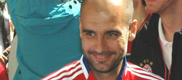 Pep Guardiola en un entrenamiento del Bayern