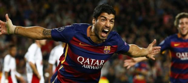 Suárez celebrando un gol con el Barcelona