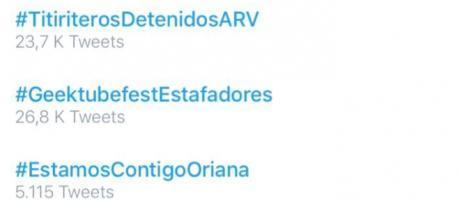 #EstamosContigoOriana Trending Topic en España