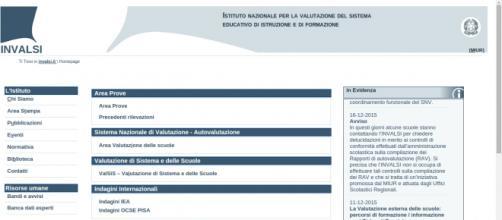 La homepage del sito di Invalsi