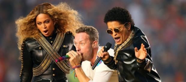 Beyonce, Coldplay and Bruno Mars at Super Bowl 50.
