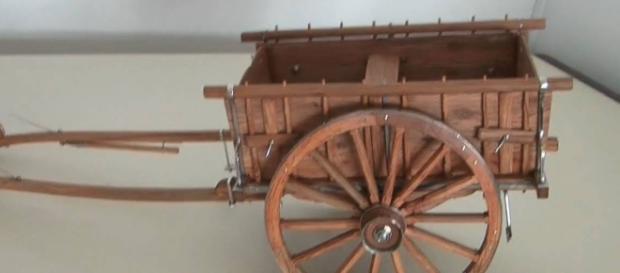 Carroças como esta eram transportadas pelos jovens