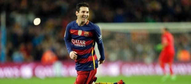 Messi festeja un gol esta temporada con el Barça