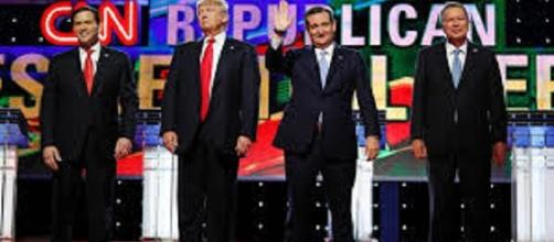 Da sx Rubio, Trump, Cruz e Kasich