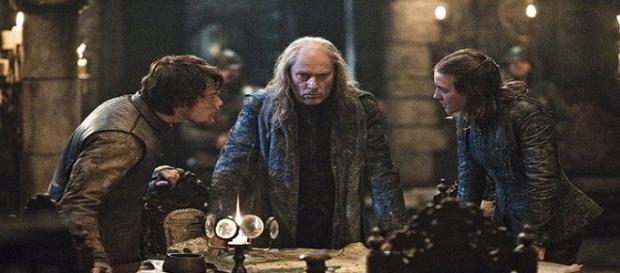 Balon Greyjoy junto a sus hijos Theon y Yara
