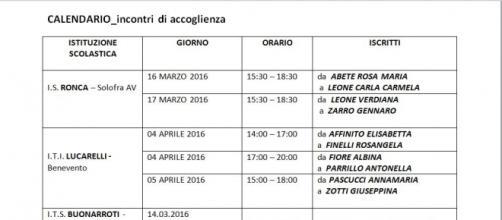 calendario incontro di accoglienza Campania
