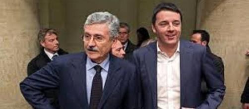 Matteo Renzi e Massimo D'Alema. Scontro nel PD