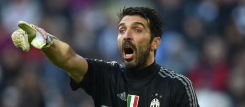 Buffon in the net for Juventus, image by 442.com