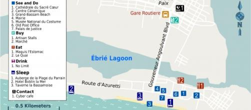 Mappa turistica di Grand-Bassam.