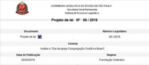 Reprodução do PL 95/2016 (Assembleia Legislativa)
