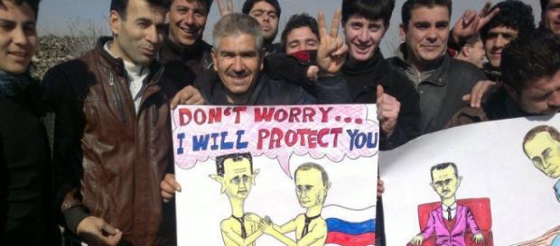 Sirios protestan contra Al Assad y Putin