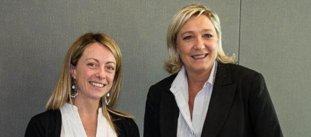 Giorgia Meloni con Marine Le Pen