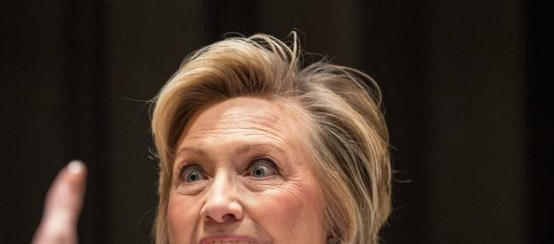 Hillary Clinton reacts to audience.