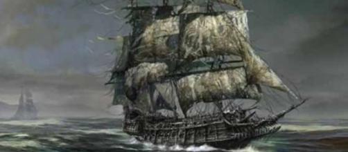 Foto de ilustración de barco afectado por tormenta