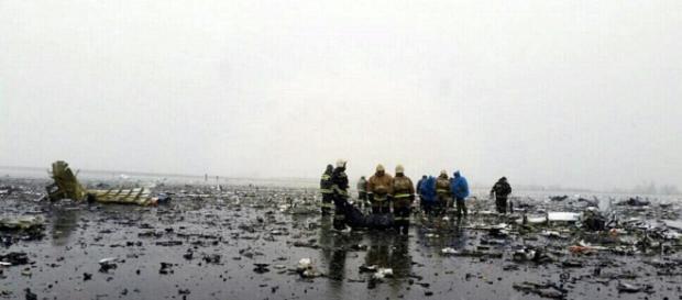 Los escombros del accidente de avión en Rusia