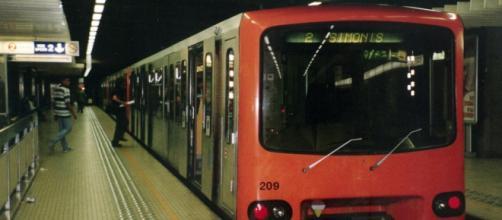 Fotografía del metro de Bruselas en la estación de Maelbeek