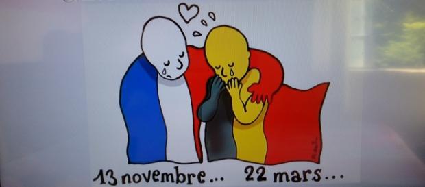 Charge veiculada no Twitter presta solidariedade à Bélgica