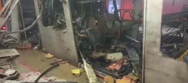 Sreenshot do metrô após as explosões