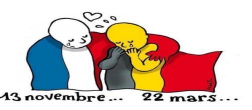 Imagen de solidaridad tras el atentado en bruselas