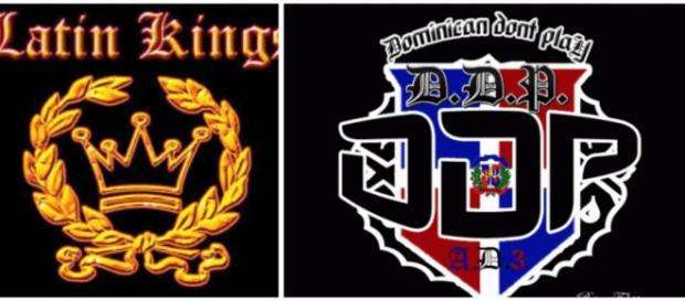 Logos de Latin Kings, Dominican Dont Play, Combat y Ñetas.