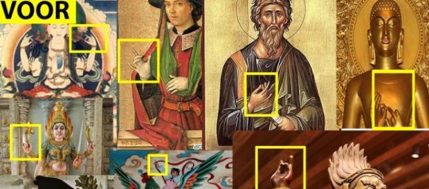 Varias imágenes ejecutando el signo